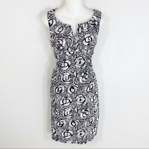 Adrianna Papell black white floral sheath dress